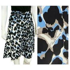 ICONIC Vintage 1990s ROBERTO CAVALLI Blue Leopard print Skirt