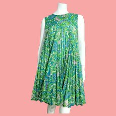 "ICONIC Vintage 1960s MOD ""Babydoll Tent"" Paisley Empire Mini Dress"