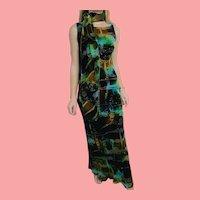 DEADSTOCK  $6800 DIANE FREIS Couture:  Vintage 1990s Silk Beaded Velvet Dress