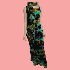 DEADSTOCK  $6800 DIANE FREIS Couture:  Vintage 1990s Silk Beaded Velvet Dress