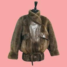 Vintage 1980s PLUCKED BEAVER Fur & Leather Bomber Jacket/Coat