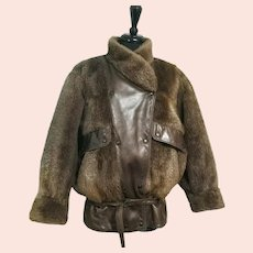 Vintage 1980s PLUCKED BEAVER Fur & Leather Bomber Jacket/Coat