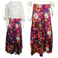 DEADSTOCK  $450 DIANE FREIS Vintage boho lace floral Maxi Skirt