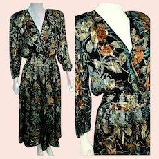 DEADSTOCK  $895 DIANE FREIS Vintage 1980s boho maxi Metallic Dress