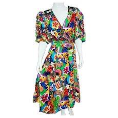 DEADSTOCK  $990 DIANE FREIS Archival piece:  Vintage 1980s beaded cotton Boho Dress