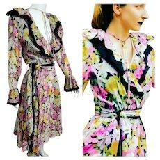 DEADSTOCK  New $595 DIANE FREIS Vintage boho Beaded Cotton Dress