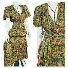 DEADSTOCK $895 DIANE FREIS Vintage 1980s boho Italian Cotton Dress