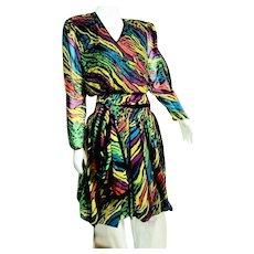 DEADSTOCK  $595 DIANE FREIS Vintage 1980s boho Animal Print Dress