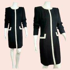 Vintage 1980s CAROLINA HERRERA preppy glam strong-shoulder Dress