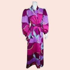 Vintage 1970s DAVID BROWN Asian-inspired Bold Hostess Robe