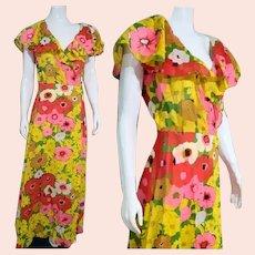 Vintage 1970s MOD FLORAL Cotton Gauze Hostess Robe/Maxi Dress