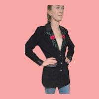 Vintage 1980s MARGARET GODFREY Black Suede & Leather Embroidered WESTERN Blazer Jacket