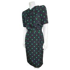 Vintage VALENTINO Boutique 1980s Silk Polka Dot Dress