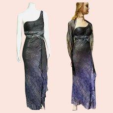 "DEADSTOCK $1000 DIANE FREIS Vintage ""Grecian"" Snake print Gown Dress"