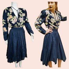 DEADSTOCK  $595 DIANE FREIS Vintage 1980s boho Beaded Cotton Dress