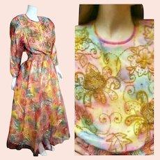 "DEADSTOCK  $595 DIANE FREIS Vintage 1980s boho ""Beaded Rainbow"" Dress"