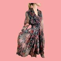 """DEADSTOCK  $895 DIANE FREIS Vintage 1980s boho """"Beaded Soustache"""" Dress"""
