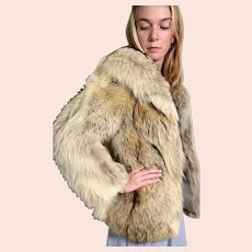Vintage 1970s Natural & Red FOX FUR Stroller Coat/Jacket