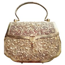 EXQUISITE Vintage 1960s SILVERPLATE Etched mod-era Handbag Purse Bag