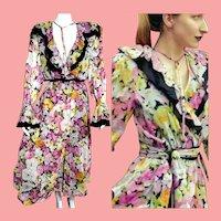"RARE Archival Deadstock  $895 DIANE FREIS Vintage 1980s boho ""1930s Retro Floral"" Dress"
