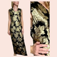 DEADSTOCK  $900 DIANE FREIS Couture:  Vintage 1990s Gold Lame' metallic column Dress