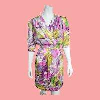 Iconic Vintage 1980s LOUIS FERAUD Watercolor Silk Kimono Obi-belt Dress