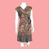 Vintage 1970s peasant/ethnic Batik Cotton Wrap Dress