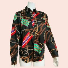 Vintage 1990s RALPH LAUREN Equestrian Horse Bit cotton Shirt Top