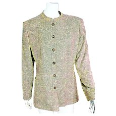 "Vintage 1980s VALENTINO Italy ""NERU"" Nubby Silk/wool Blazer Jacket"