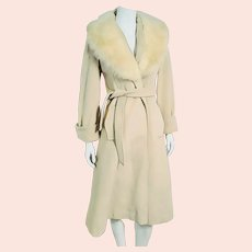 Fabulous Vintage 1970s ROBE Wrap Wool & RABBIT FUR Coat