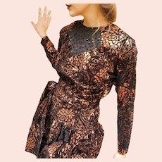 Deadstock Vintage DIANE FREIS $595 Metallic Copper boho mini Dress