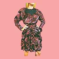DEADSTOCK  $595 DIANE FREIS Vintage 1980s boho Metallic Hot Pink Dress