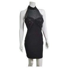 DEADSTOCK  $360 DIANE FREIS vintage 1990s SUPERMODEL Body Con Spandex little black Dress