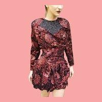 """DEADSTOCK  $595 DIANE FREIS Vintage 1980s boho Metallic """"Electric Red"""" Mini Dress"""