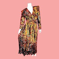 Deadstock $595 DIANE FREIS 1980s boho Metallic Copper Dress