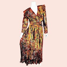 Deadstock $595 DIANE FREIS 1980s boho Metallic Copper Dress