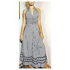 Vintage 1970s GINGHAM hipppie Halter Maxi Dress