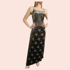 Iconic 1990s GIORGIO ARMANI Velvet Burnout Maxi Dress/Gown