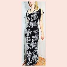 """DEADSTOCK  $600 DIANE FREIS vintage """"1990s does 1930s"""" Retro Velvet burnout Boho Dress"""