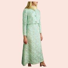 Vintage 1960s NEIMAN MARCUS Tapestry & Blonde MINK Fur Dress/Jacket