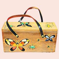 "Vintage ENID COLLINS of Texas ""Glitter Bugs"" Wood Box Bag Purse"