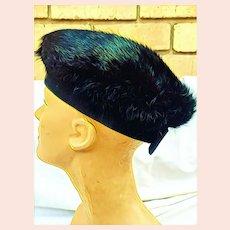 """Vintage LILLY DACHE """"Dachettes"""" 1960s Dark MINK Fur Beret Hat"""