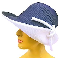 Vintage FRANK OLIVE Navy/White Sailor Fashion cloche Hat