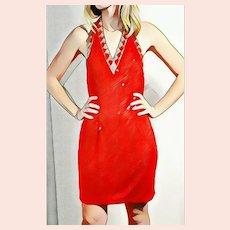 DEADSTOCK  $1950 DIANE FREIS Vintage 1990s Red Sequin Body Con Mini Dress