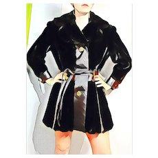 Vintage MOD SQUAD 1970s Faux Fur & Leather Coat Jacket