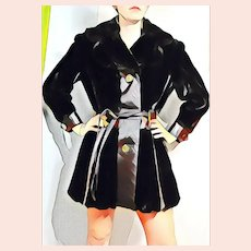 Vintage MOD SQUAD 1970s Faux Fur & Leather Coat Jacket