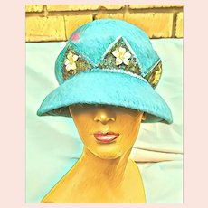Vintage 1960s VALERIE MODES mod beaded Wool Cloche Hat