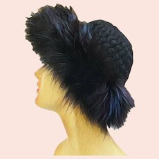 Vintage 1960s Black FOX FUR & Knit Wool Mod Hat