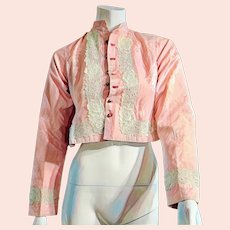 Vintage  Antique Victorian 1800s RARE PINK Silk Jacket