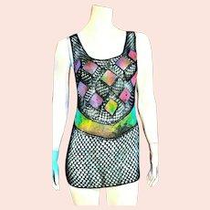 Unused Vintage 1980s SEXY See-Thru Net & Mesh Top/Cover Up/Dress